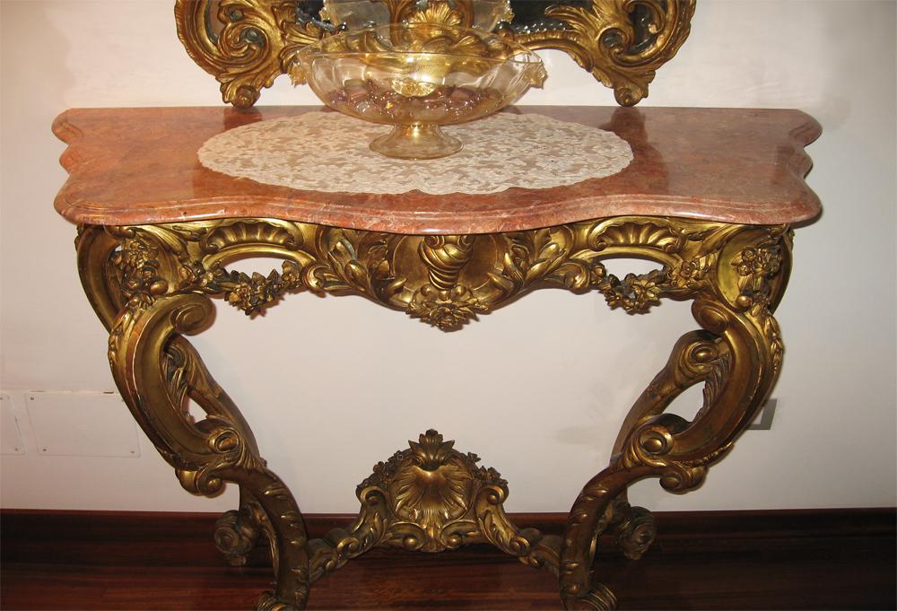 Breccia Pernice marble console